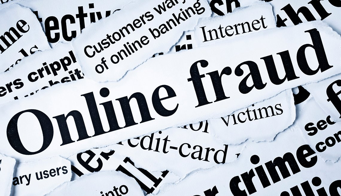 Newspaper clippings of online fraud terms