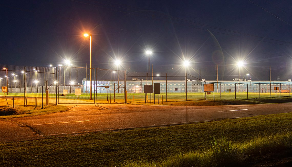 nighttime shot of the jimmy autry prison and yard in georgia taken from outside