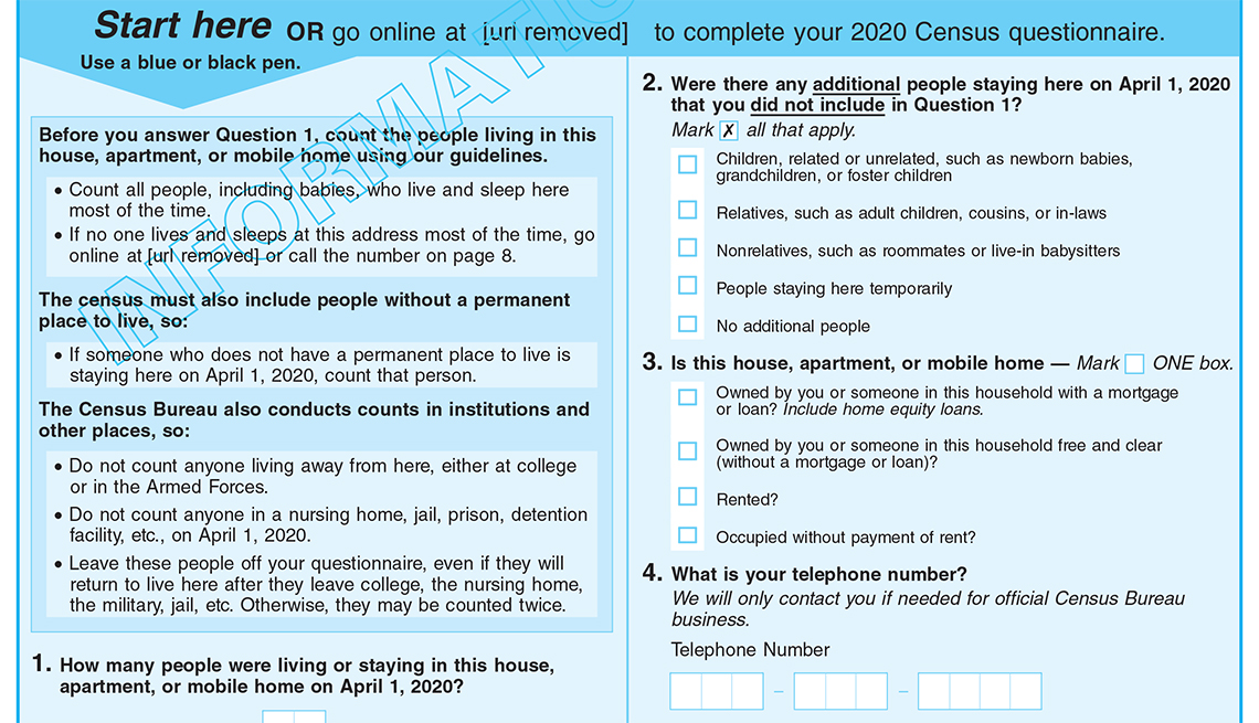 2020 Census Informational Questionnaire (Bilingual - English/Spanish) sample