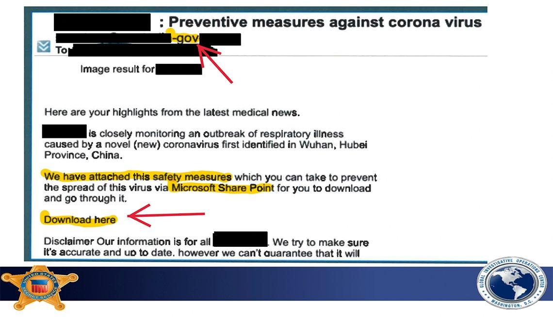 Ejemplo de un correo electrónico falso del coronavirus usado en una estafa.