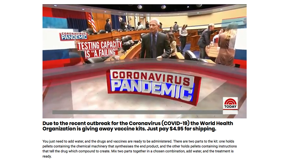 Screenshot of a phony coronavirus website