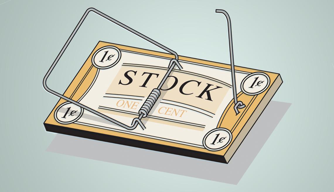 Ilustración de una trampa de ratón con cara de un billete y la palabra Stock.