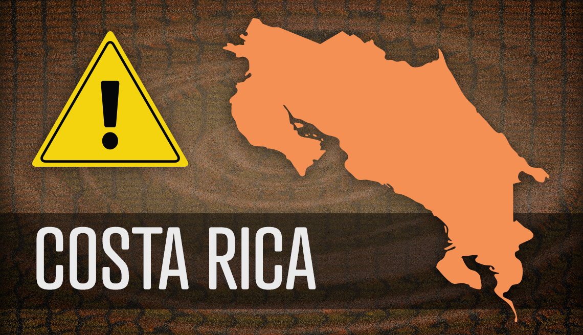 item 3 of Gallery image - map of costa rica and warning sign of scam businesses