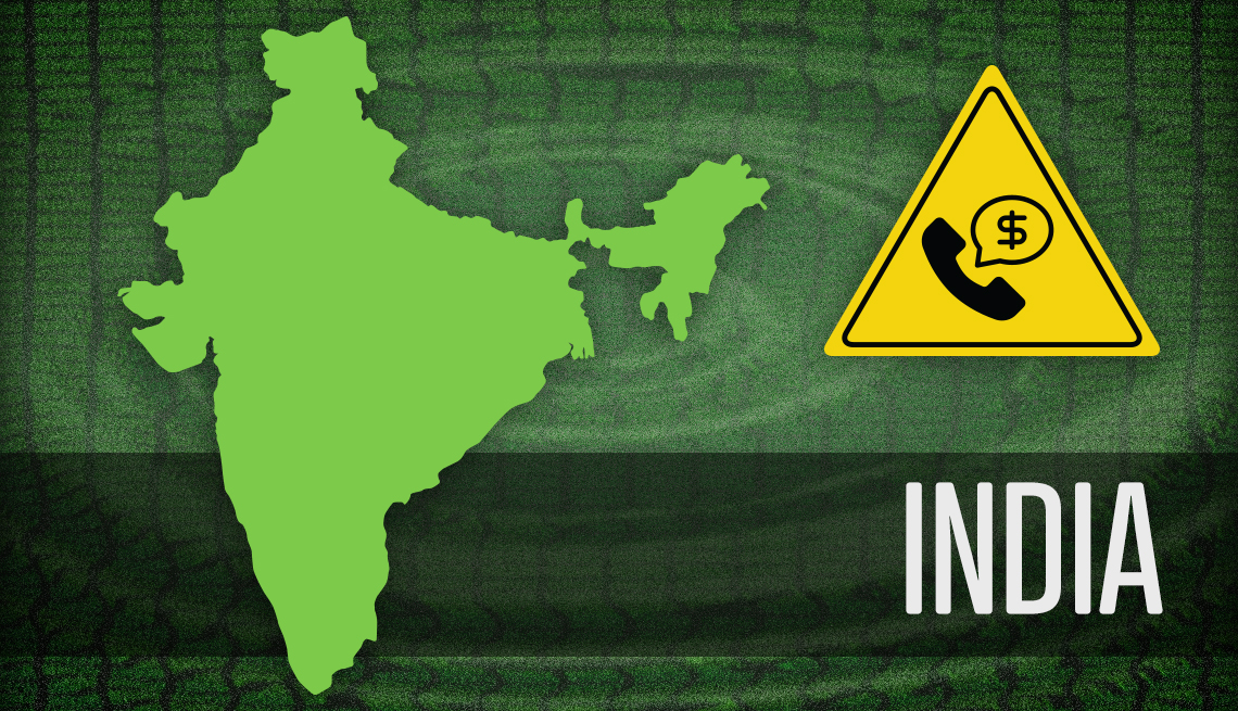 item 1 of Gallery image - map of india and warning sign of tech support fraud