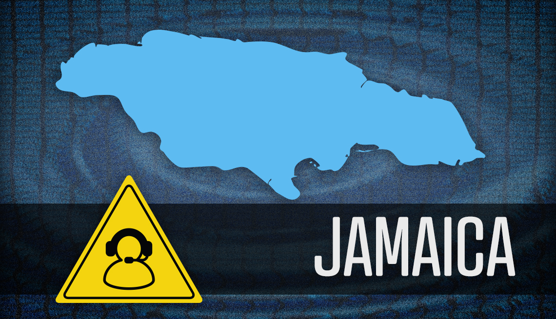 item 2 of Gallery image - map of jamaica with warning sign of call center scammer