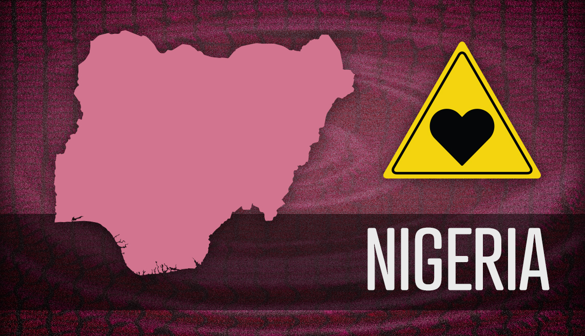item 6 of Gallery image - map outline of nigeria and warning sign for romance fraud