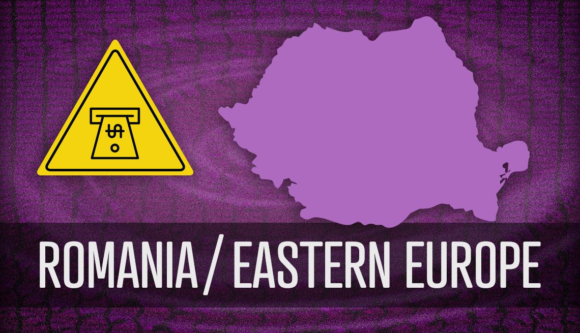 item 4 of Gallery image - map outline of romania and danger sign about a t m skimmming