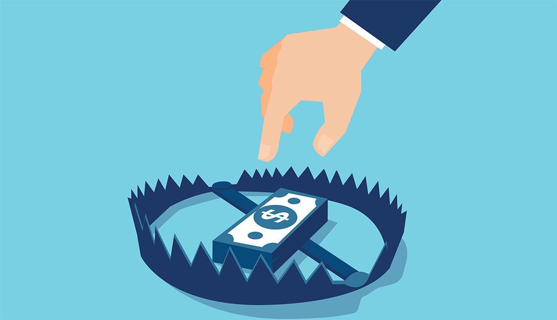Ilustración de una mano que va a sacar un fajo de dólares de una trampa.