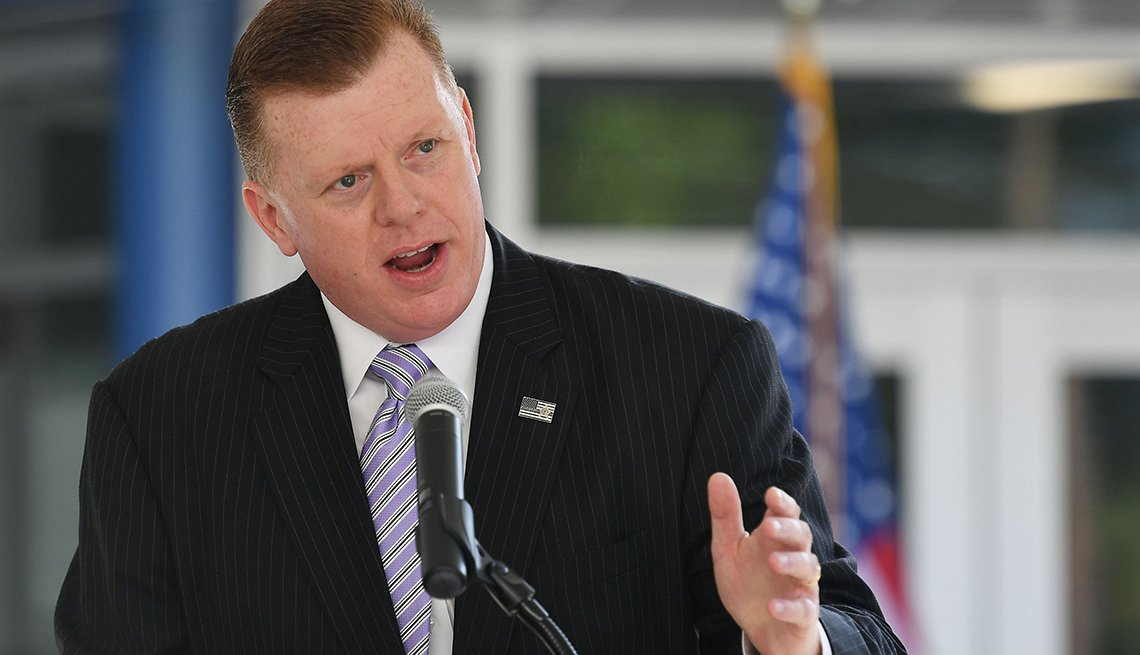Secret Service Director James Murray speaks during the opening ceremony of the Maloney Canine Training Facility at the J. Rowley Training Center, in Laurel, Maryland on September 12, 2019.