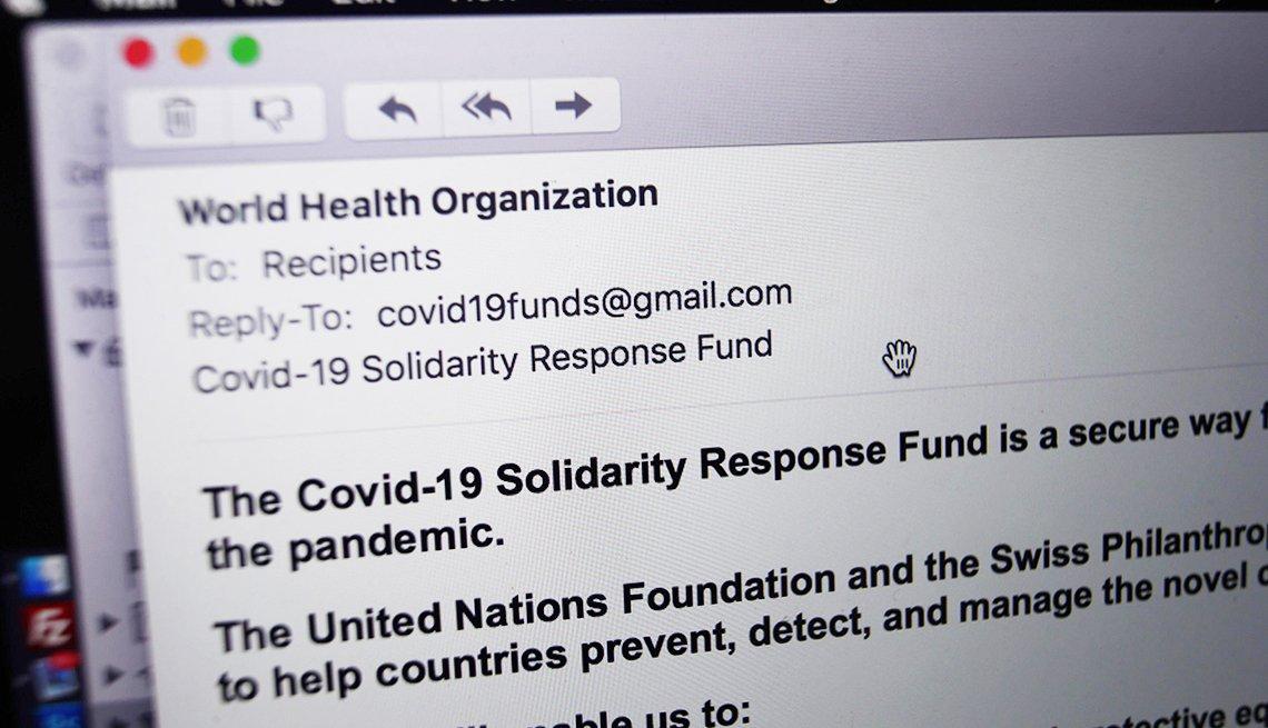 Ejemplo de un correo electrónico de un impostor de la Organización Mundial de la Salud, en el cual se pide una donación.