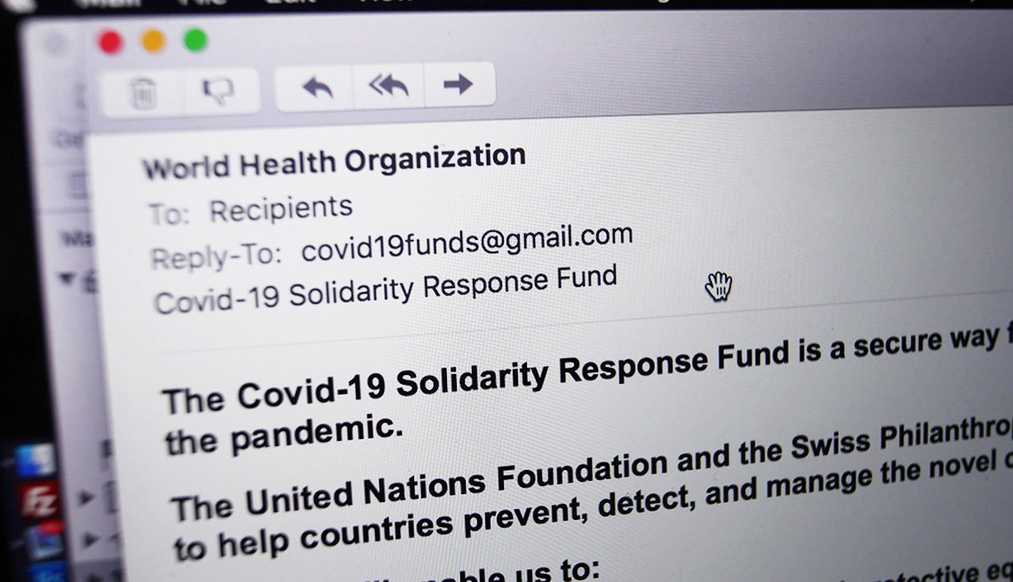 A phishing email from someone posing as the head of the World Health Organization (WHO), and asking recipients to donate money to a coronavirus fund, received on a laptop in London.