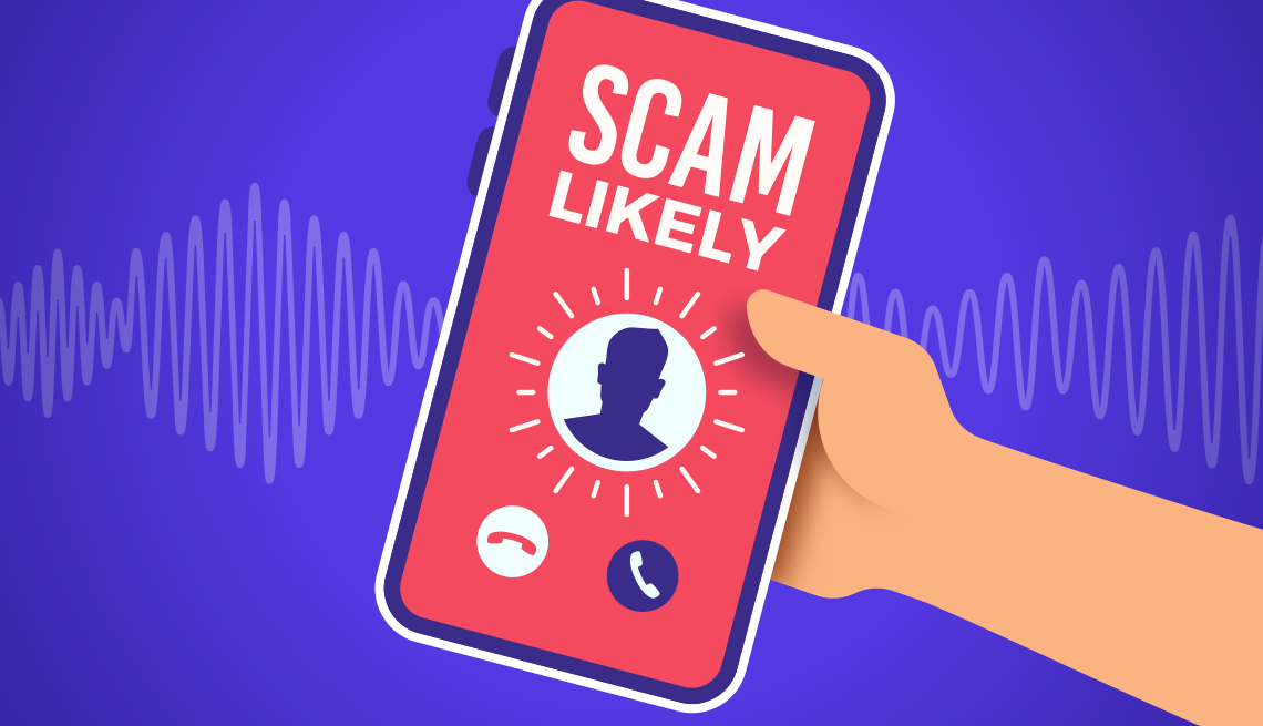 Ilustración de una mano sosteniendo un teléfono móvil que recibe una llamada y advierte que podría ser una estafa.