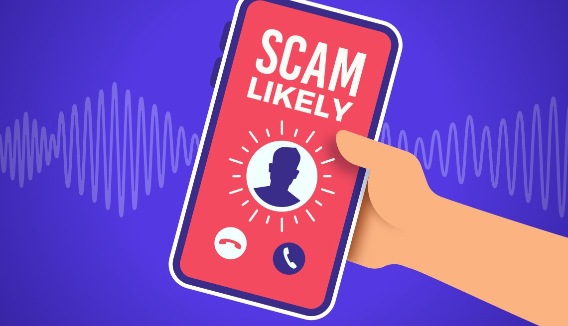 graphic illustration of a hand holding a ringing mobile phone with a likely scam call coming in
