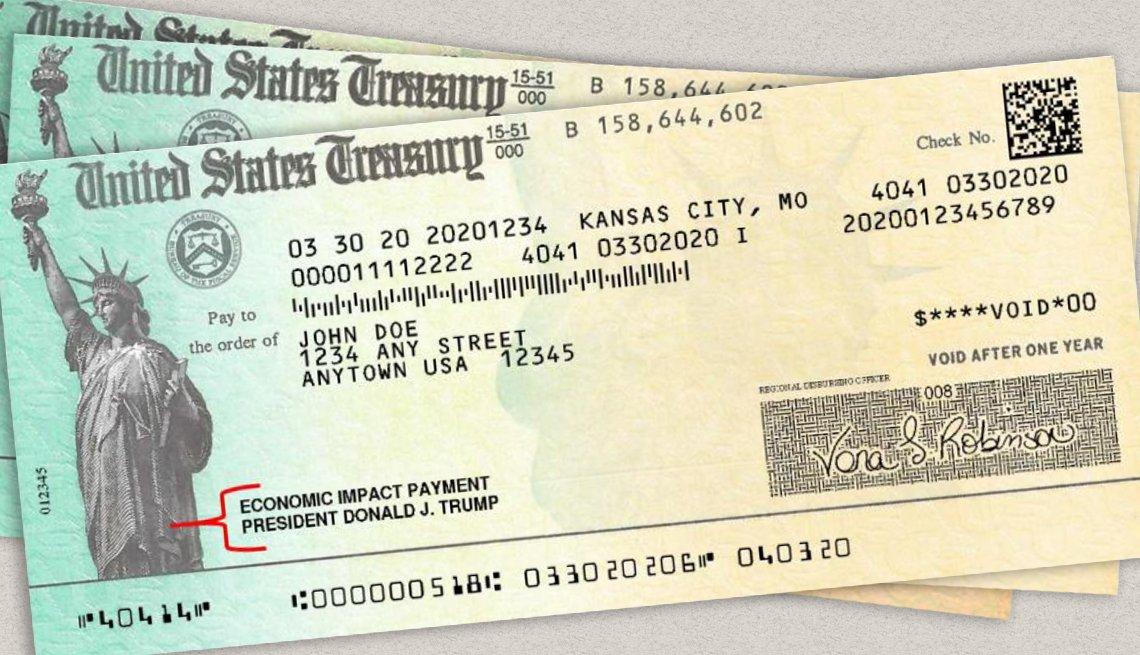 Tres cheques del Departamento del Tesoro de Estados Unidos