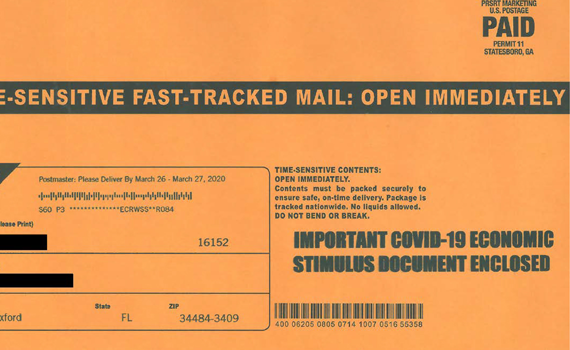 exhibit a from a civil complaint showing a scam realistic looking mailer envelope that says time sensitive fast tracked mail open immediately and that there is a covid nineteen stimulus document enclosed