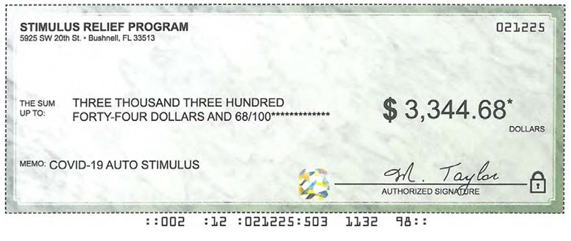 image of a fraudulent check for three thousand three hundred forty four dollars and sixty eight cents with no addressee and a note that it is for covid auto stimulus