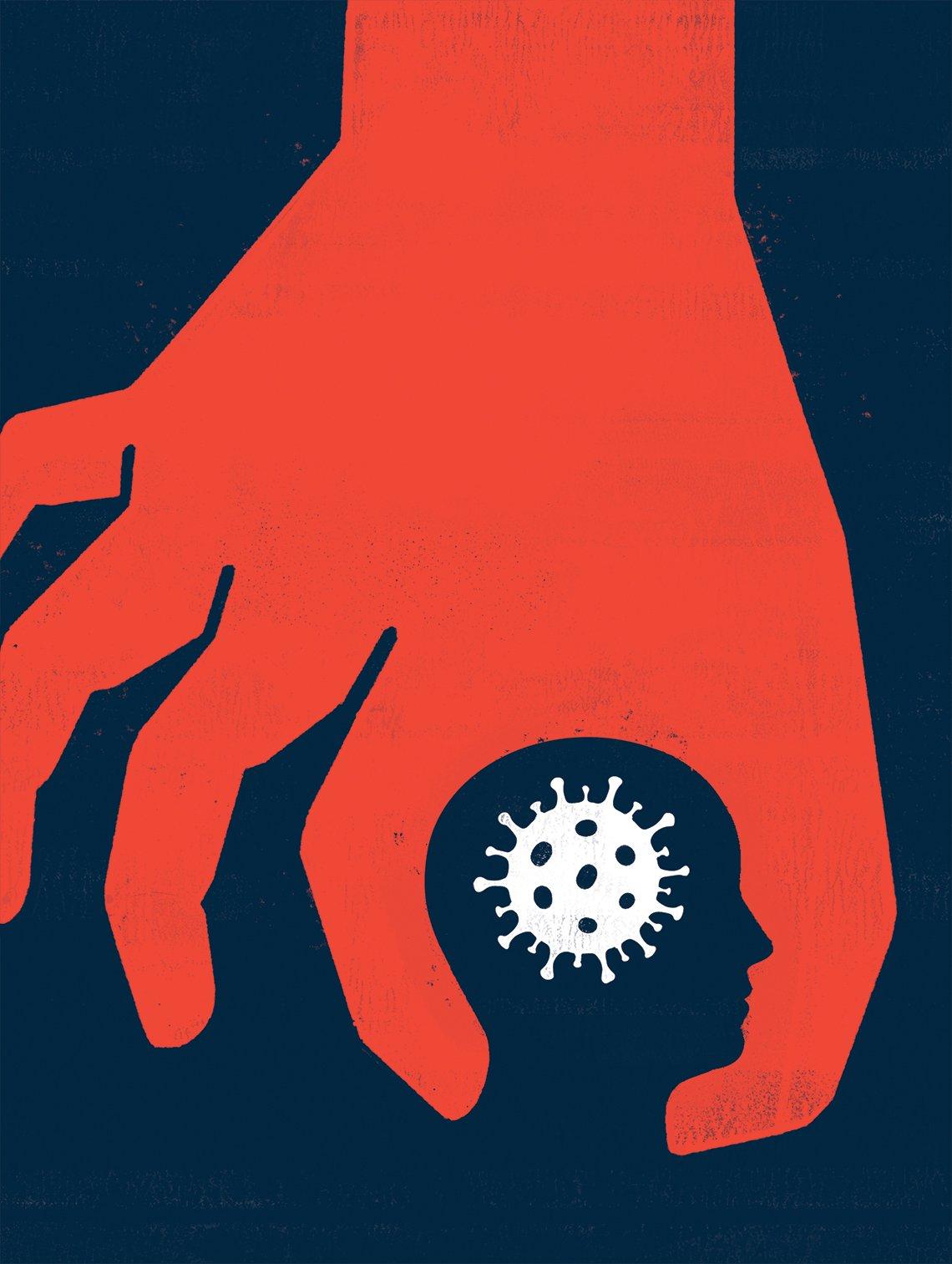Gráfica del coronavirus con una mano alrededor de ella y delineando la figura de la cabeza de un ser humano.
