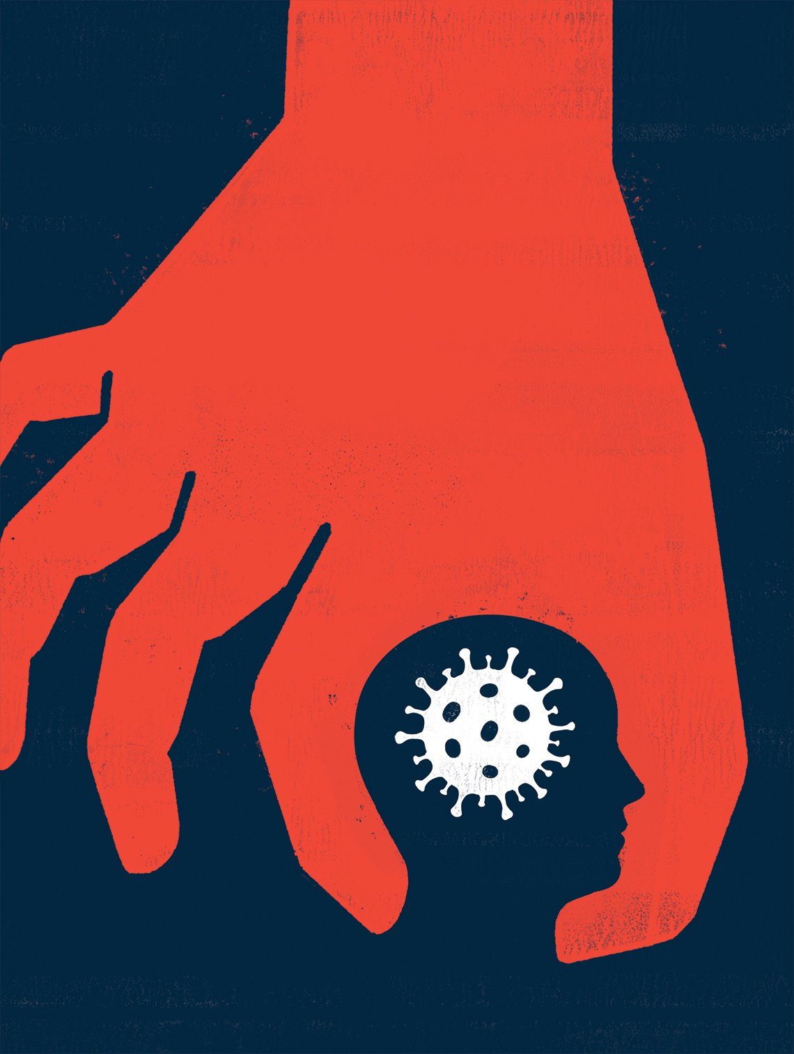 dramatic illustration of a large red hand with first finger and thumb encircling a head with the coronavirus cell where the brain is