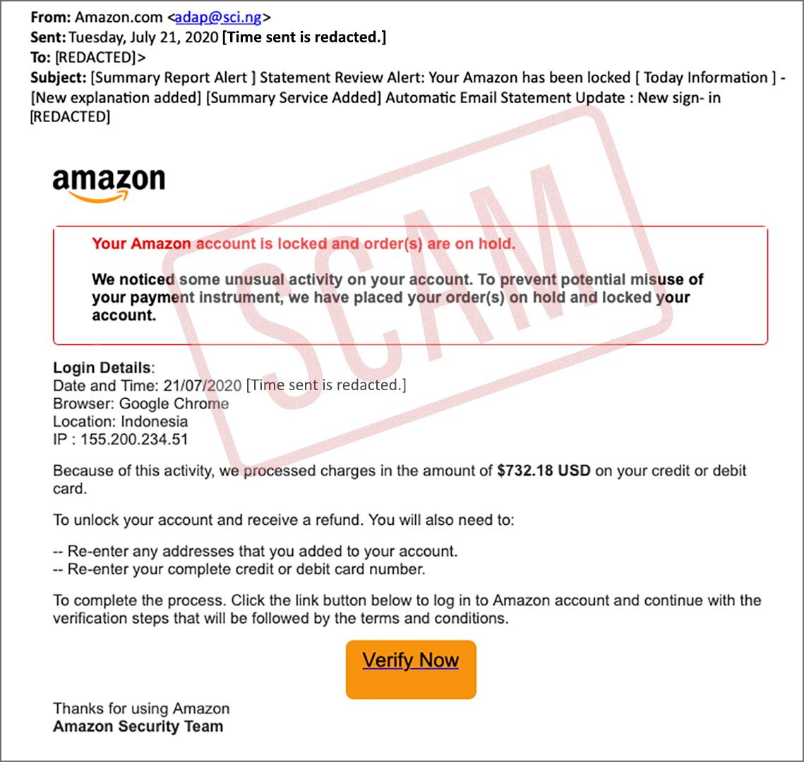 screenshot of a scam email purported to be from amazon
