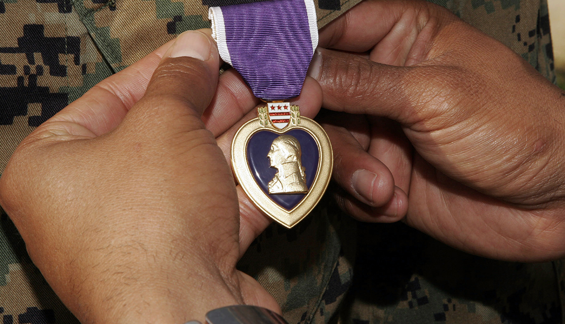 Marine Corps Base Lejeune, North Carolina - A light armored vehicle commander with 1st Platoon, Company A, 2nd Light Armored Reconnaissance Battalion, 2nd Marine Division, was awarded the Purple Heart here May 23.
