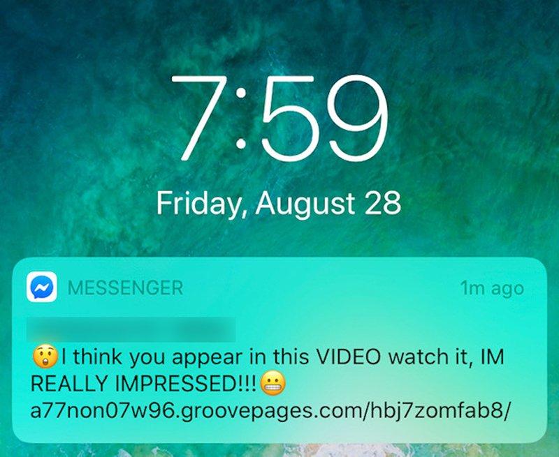 Facebook Messenger malicious link notification