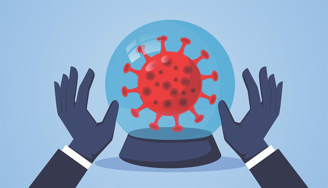 Ilustración de una bola de cristal que muestra un coronavirus