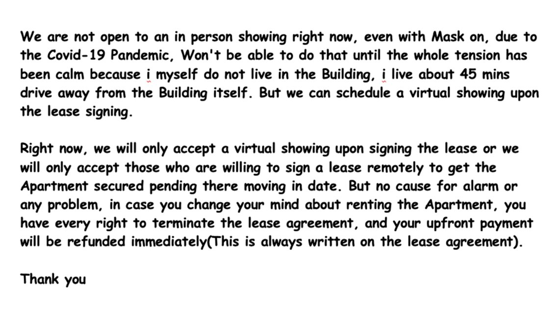 screenshot of a fraudulent email from an apartment scam