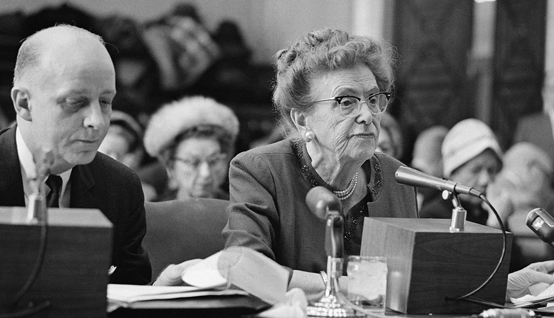 Dr. Ethel Percy Andrus, president of American Association of Retired Persons (left) and Federal Trade Commission chairman Paul Rand Dixon attend a Special Senate Committee on Aging  hearing the growing hazards of fraudulent schemes against older adults.