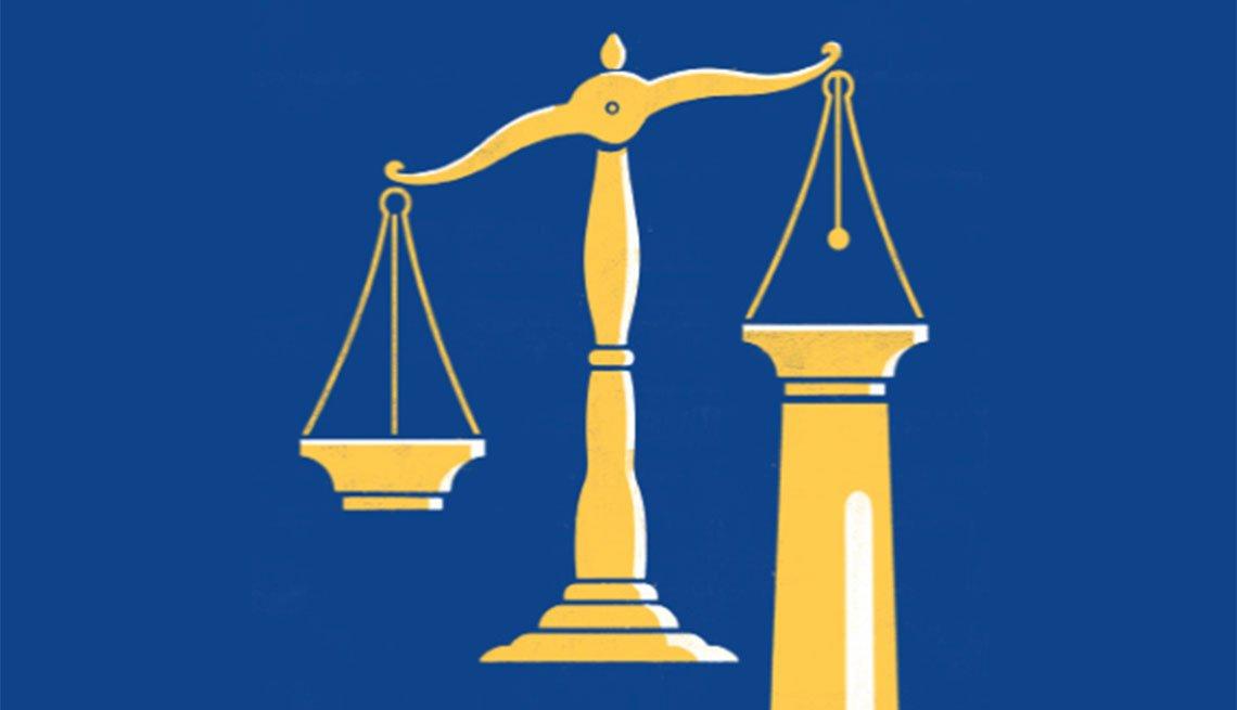 Ilustración de una balanza de la justicia.