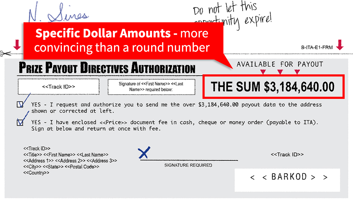 item 5 of Gallery image - Graphic detailing payout authorization in sweepstakes scam