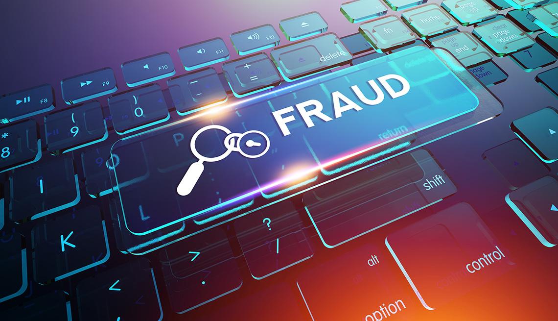 Ilustración del teclado de una computadora con una tecla extra que dice fraude