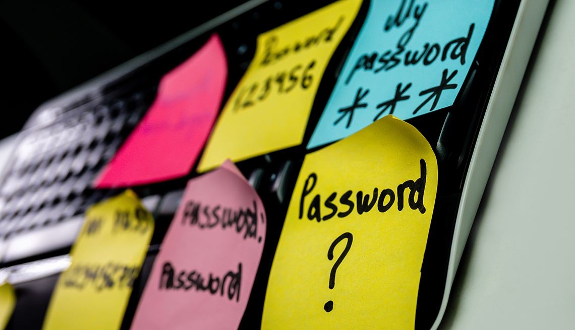 Notes with weak passwords and keyboard