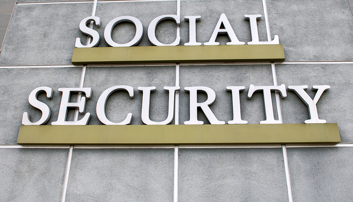 A sign is seen outside a US Social Security Administration building, Burbank California