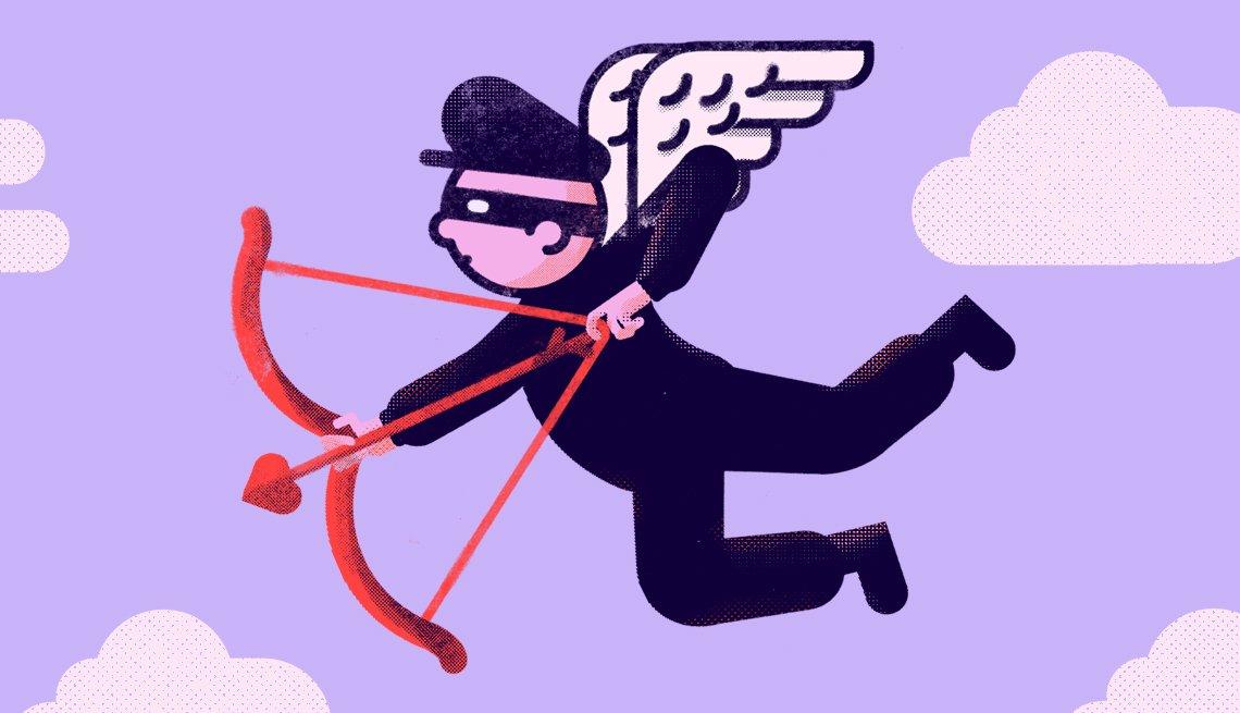 Ilustración de un ladrón con antifaz, alas, y arco y flecha de Cupido