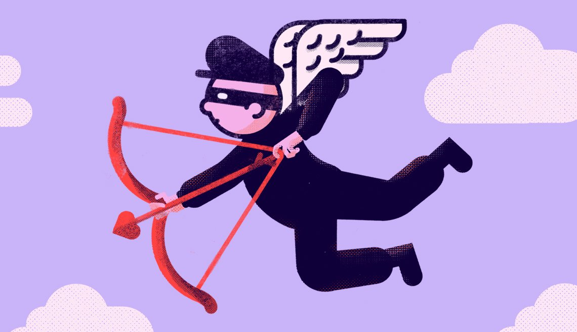 illustration of a masked burglar with wings and a cupid bow and arrow pretending it is love