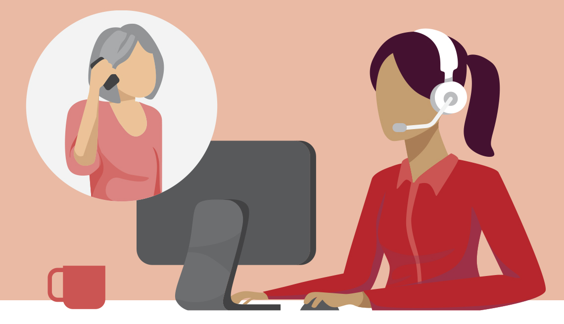 graphic showing a person calling into a helpline and a rep talking to them from their office