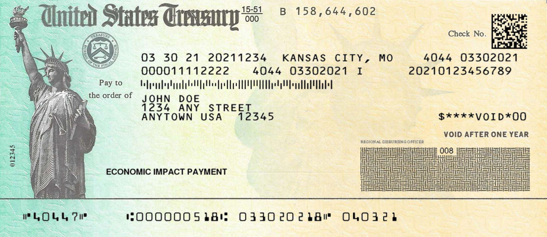 Cheque de estímulo para el Covid del Departamento del Tesoro de Estados Unidos