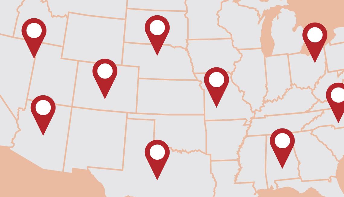 Mapa de Estados Unidos con puntos de localización sobre algunos estados