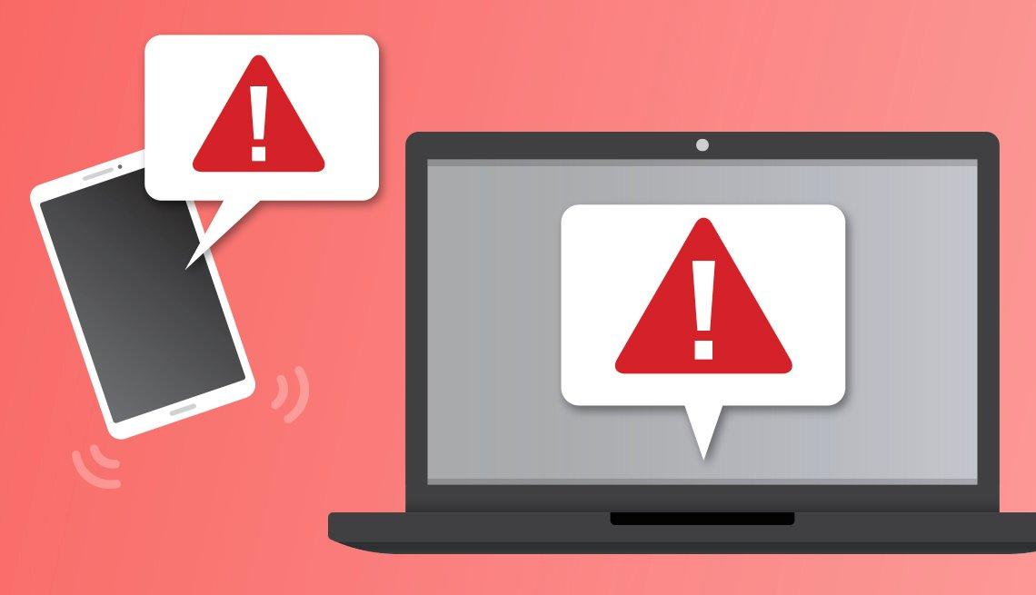 Ilustración de un computador portátil y un teléfono móvil con el símbolo de alerta
