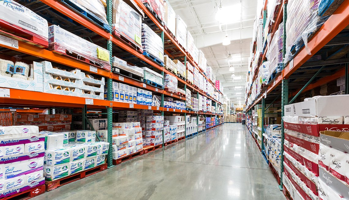 an aisle of paper products in a costco wholesale store