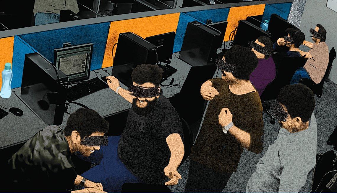 Una oficina de fraude donde los empleados se ríen de una víctima.