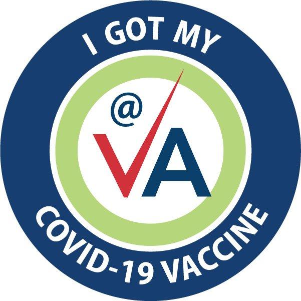 Calcomanía que usa la VA para ponerle a las personas que reciben la vacuna contra la COVID