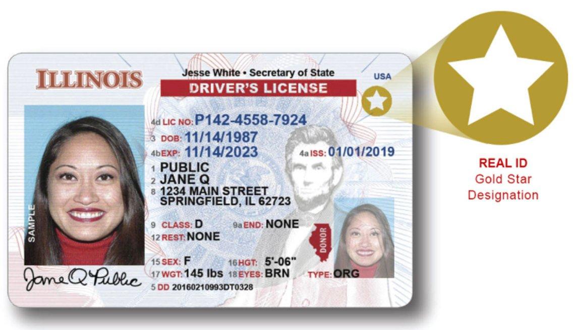 Muestra de una licencia de conducción Real ID de una mujer