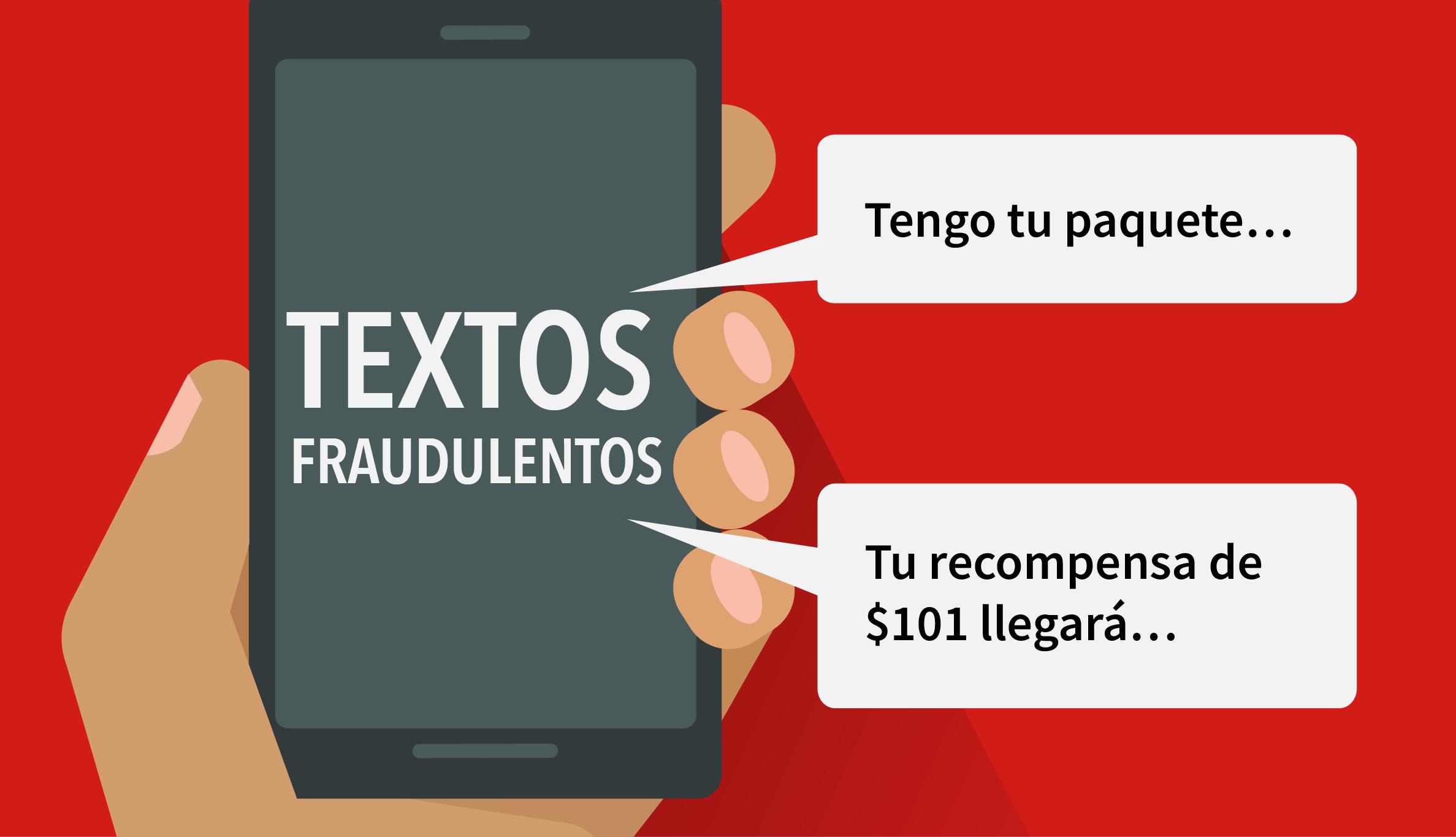 Ilustración de un teléfono inteligente que dice textos fraudulentos y tengo tu paquete, y tu recompensa de <img01 llegará