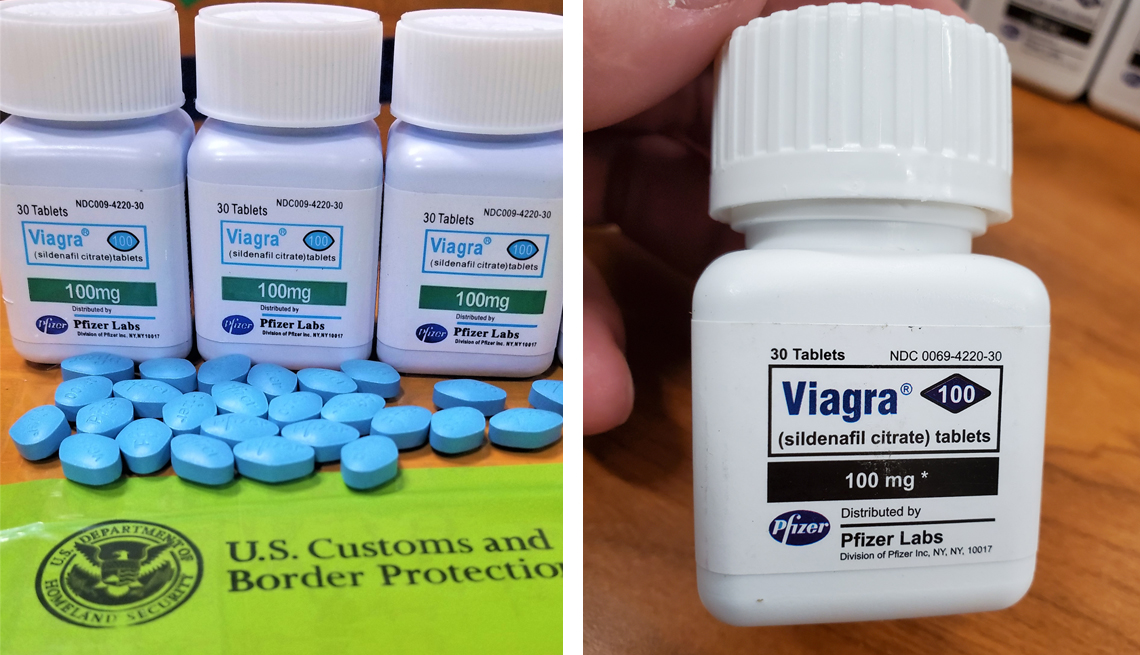 counterfeit viagra bottles and pills confiscated by u s customs and border protection