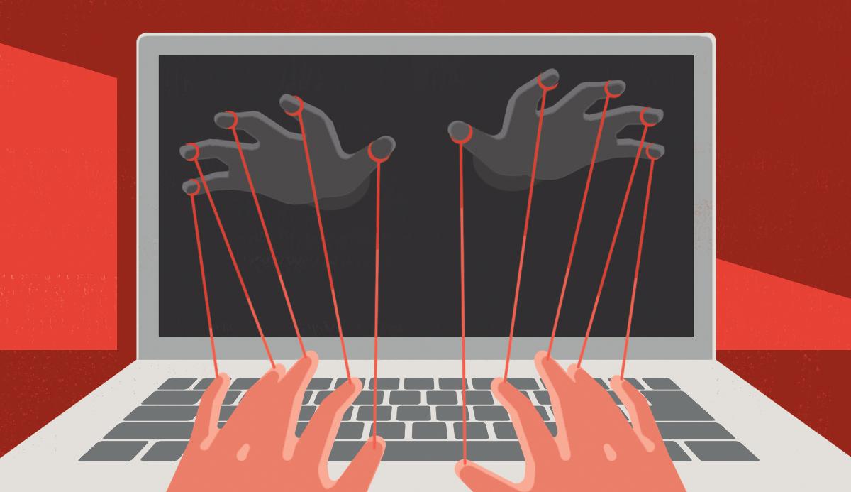 Ilustración de unas manos en la pantalla de una computadora que se unen por hilos a otras sobre las teclas.