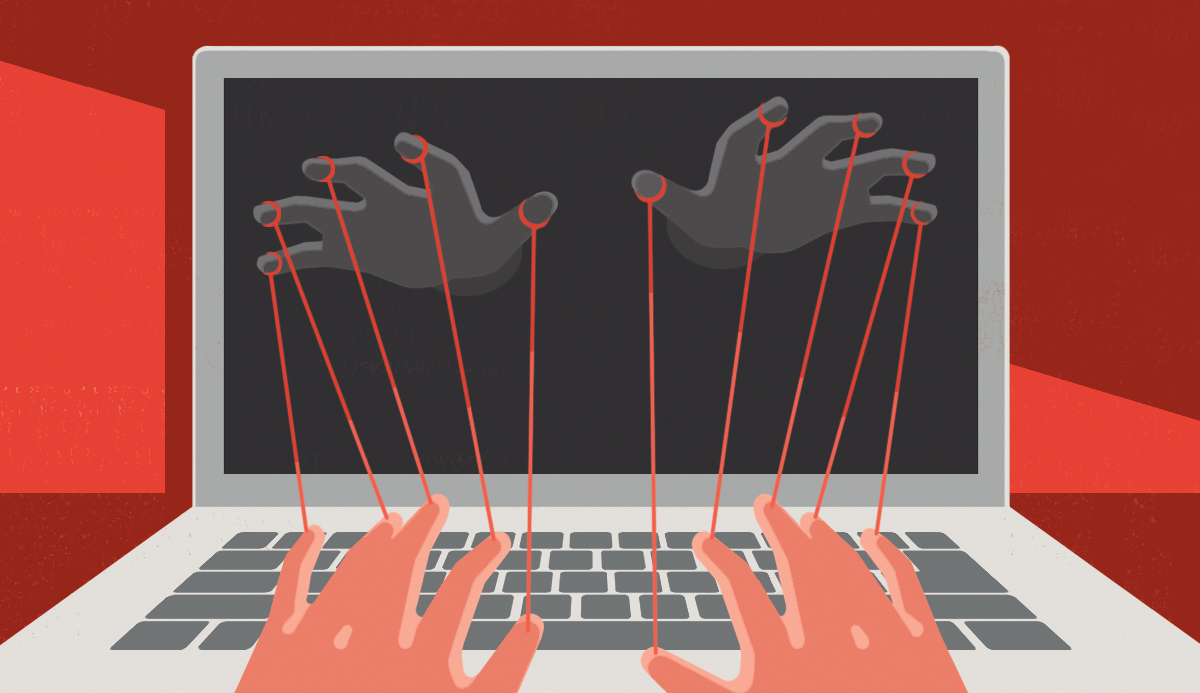 illustration of hans using a laptop but being controlled by strings attached to dark hands
