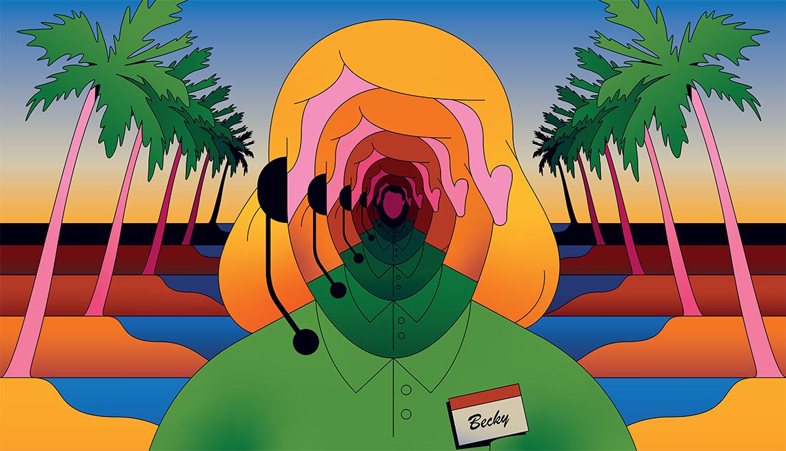 Ilustración de una operadora de servicio al cliente sin rostro y con una etiqueta que dice Becky, con una playa de fondo.