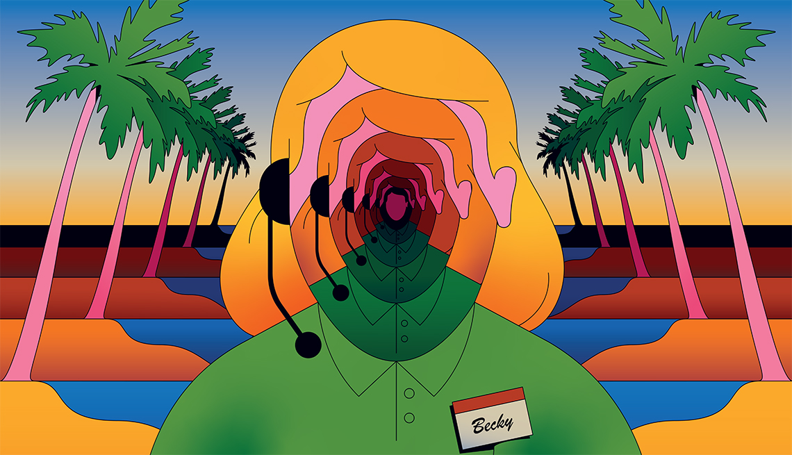 illustration of a faceless telemarketing scam caller wearing a name tag that says becky