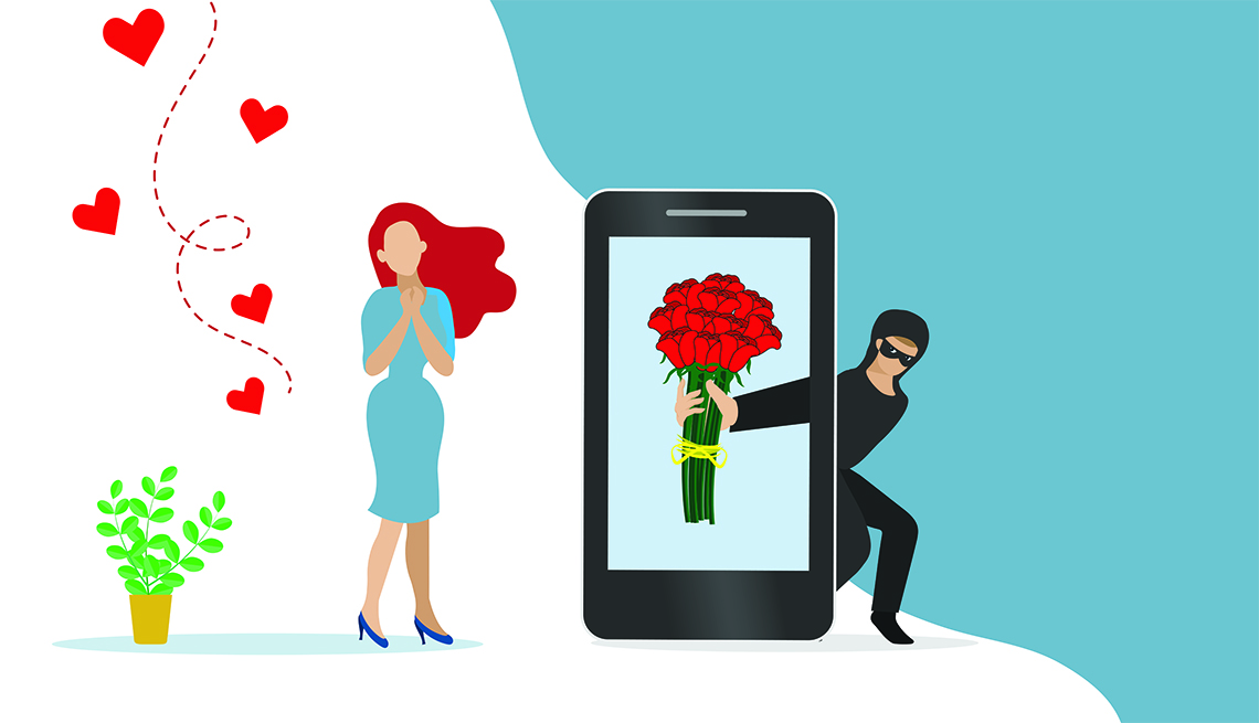 Scammer online chatting with woman and sending rose flowers on smartphone screen. Romance scam, dating scam, cyber crime, hacking, phishing and financial security concept.
